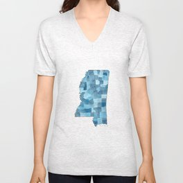 Mississippi Counties Blueprint watercolor map Unisex V-Neck