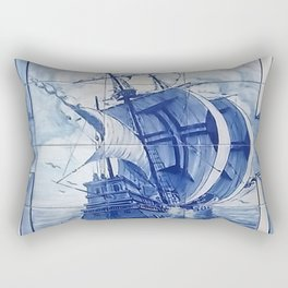 Portuguese Blue Tile Rectangular Pillow