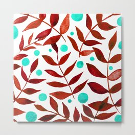 Watercolor berries and branches - red and turquoise Metal Print