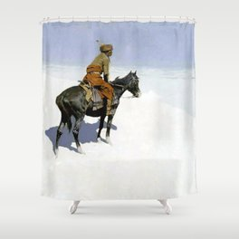 "Frederic Remington Western Art ""The Scout"" Shower Curtain"