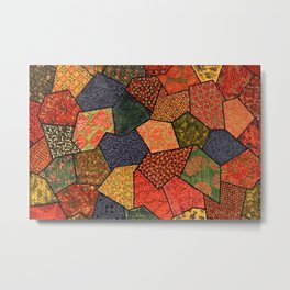 Japanese colorful quilt patchwork Metal Print