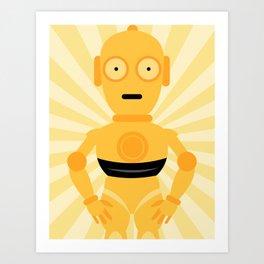C3PO STAR WARS WALL ART PRINT Mellow Yellow Art Print