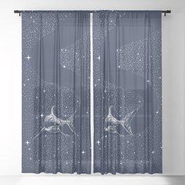 Starry Shark Sheer Curtain
