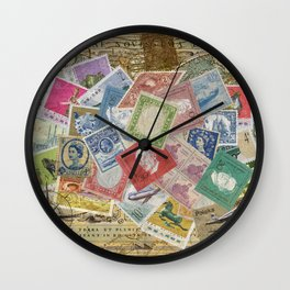 World Stamps Wall Clock