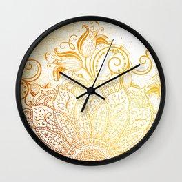 Mandala - Golden brush Wall Clock