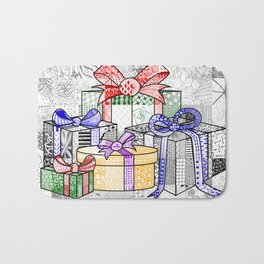 Coloured Christmas Presents Bath Mat