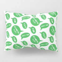 CELEBRATION PARTY TIME BRIGHT GREEN SPEECH BUBBLES GOOD TIMES Pillow Sham