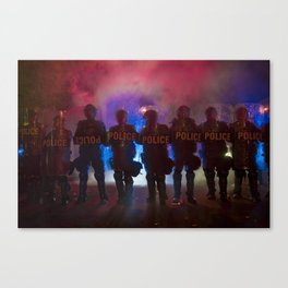 Riot Police Line - Red/Blue  Canvas Print
