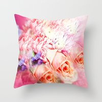 roses Throw Pillows featuring Roses  by Saundra Myles