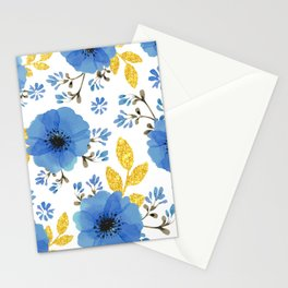 Blue flowers with golden leaves Stationery Cards