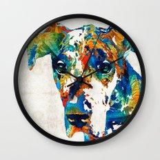 Colorful Great Dane Art Dog By Sharon Cummings Wall Clock