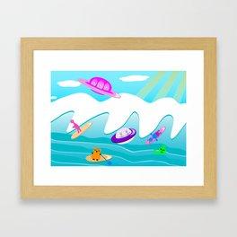 Aliens Go Surfing Framed Art Print