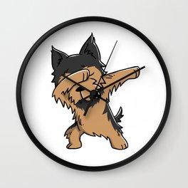 Funny Yorkshire Terrier Dabbing Wall Clock