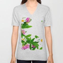 Summer Meadow Flowers White Background #decor #society6 #buyart Unisex V-Neck