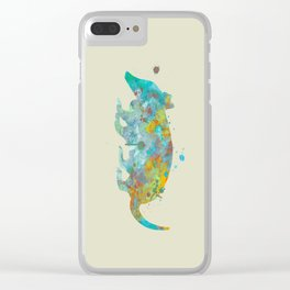 Armadillo Watercolor Painting Turquoise Aqua Mint Yellow Orange Clear iPhone Case