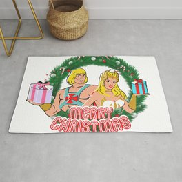 Merry Christmas Cartoon Funny Grayskull presents gifts Rug
