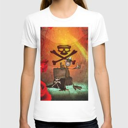 Funny pirate monkey with flag T-shirt