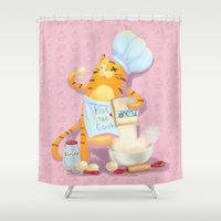 baking Shower Curtains featuring Baking with Cat: Step Two by MTerrenal