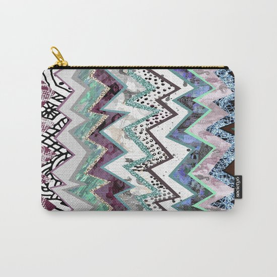 Cool Blues Zigzags Abstract Carry-All Pouch