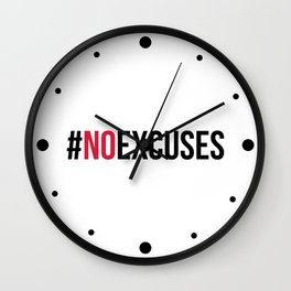 No Excuses Gym Quote Wall Clock