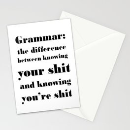 Grammar: The Difference Between Your and You're Stationery Cards