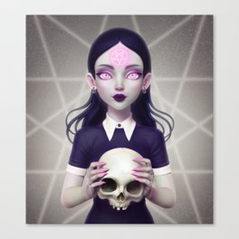 Witch With Skull Canvas Print