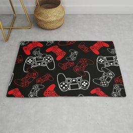 Video Games Red on Black Rug