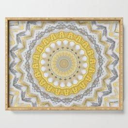 Bohemian Silver Gold Mandala Serving Tray