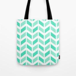 Menthol green and white chevron pattern Tote Bag