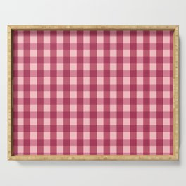 Classic Gingham Pattern Red Serving Tray