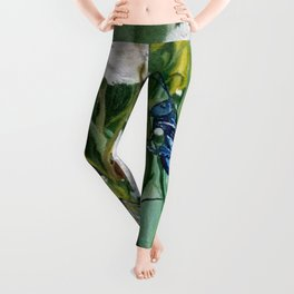Grasshoppers and Dandelions (Oil Painting) Leggings