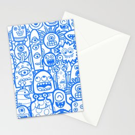 Blue Doodle Aliens And Monsters Boy Pattern Stationery Cards