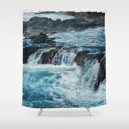 Blue Ice Glaciers Melting in Spring Shower Curtain