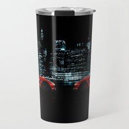 Red Sports Car on the Night City Panorama Travel Mug