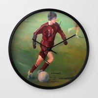 soccer Wall Clocks featuring Soccer by Karen Pettengill