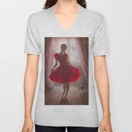 A girl in the Red Dress Unisex V-Neck