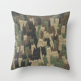 Camouflage cats Throw Pillow