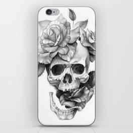 Black and white Skull and Roses iPhone Skin