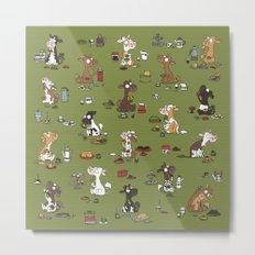 Retro cows - green Metal Print