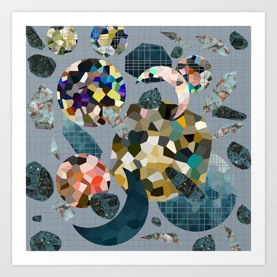 Gemstone Space Moon Art Print