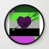 asexual Wall Clocks featuring AroAce Card by ta_kala