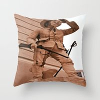 battlefield Throw Pillows featuring Battlefield by Photaugraffiti