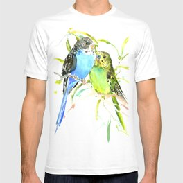 Budgies, love bird green blue decor T-shirt
