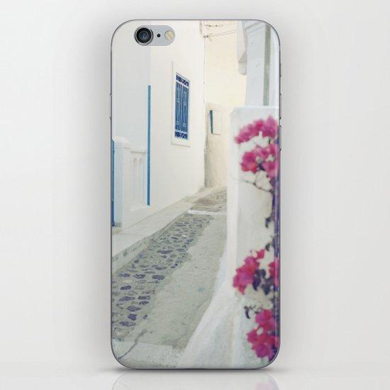 White Santorini Street iPhone & iPod Skin