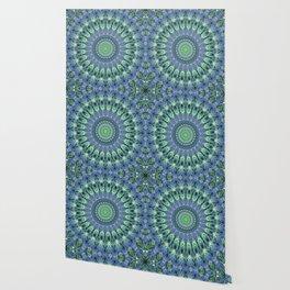 Mandala in light green and blue colors Wallpaper