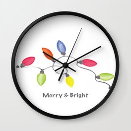 Merry & Bright w/C9 String of Christmas lights on white Wall Clock