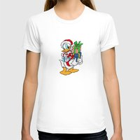 donald duck T-shirts featuring Donald Duck with christmas gifts by Yuliya L