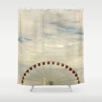 ferris wheel Shower Curtains featuring Ferris Wheel by Michelle Loidl