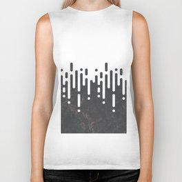 Marble and Geometric Diamond Drips, in Charcoal Grey and White Biker Tank