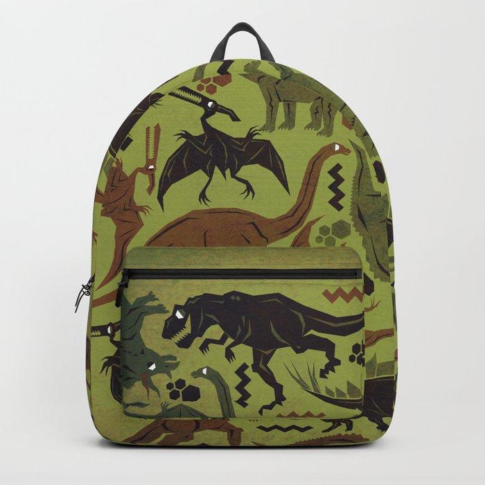 Camouflage Dinosaur Geometric Pattern Backpack